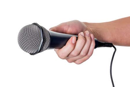 entrevista: una mujer est� sosteniendo un micr�fono en la mano. entrevista y encuesta