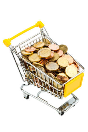 purchasing power: a shopping cart filled with euro coins, symbolic photo for purchasing power, inflation, consumption