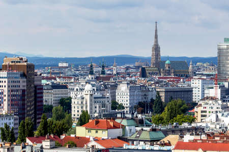 the skyline of vienna, austria. seen from the ferris wheel. Stock Photo