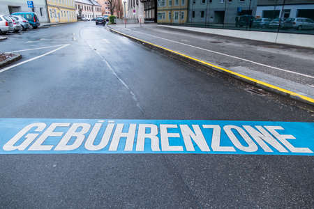 pkw: charging zone in the city, symbol of municipal administration, fees, car-free city