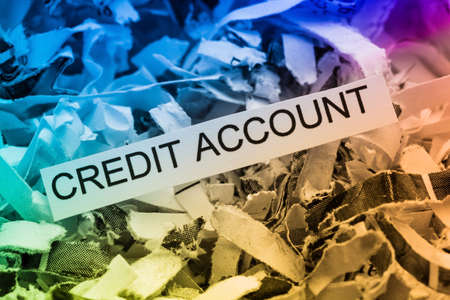 credit crisis: shredded paper tagged with credit account, symbolic photo for data destruction, financing and credit Stock Photo
