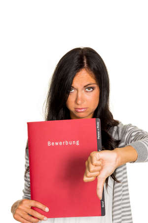 collective bargaining: a young woman holding a folder for the application to an open job in hand.