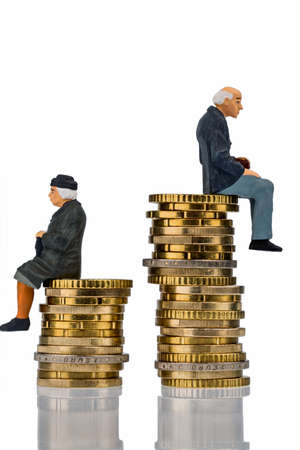pensioners and pensioner sitting on money stack symbol photo for retirement and inequality Reklamní fotografie - 38546568