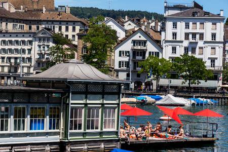 zurich: switzerland, zurich, frauenbad on the limmat Editorial