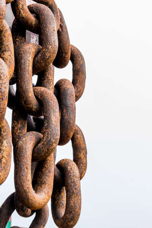 transience: rusted iron chain, symbol of decay, aging, transience, old iron Stock Photo