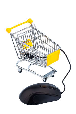 and is favorable: basket and computer mouse as a symbol for online shopping Stock Photo