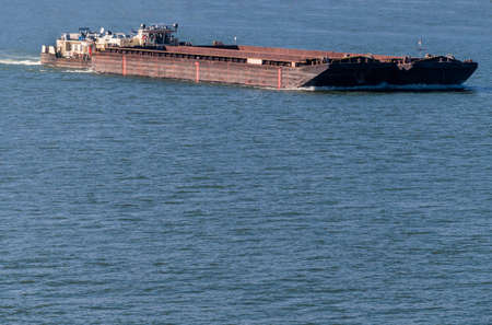 waterway: with bulk freighters traveling symbol for shipping, freight, logistics, export