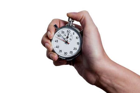 punctuality: una mano que sostiene un cron�metro.