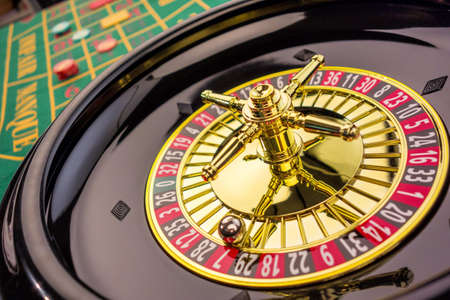 las vegas: the cylinder of a roulette gambling in a casino. winning or losing is decided by chance. Stock Photo