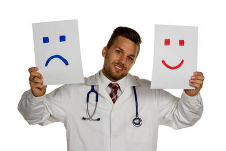 whether: a doctor can not decide whether to laugh or to cry Stock Photo