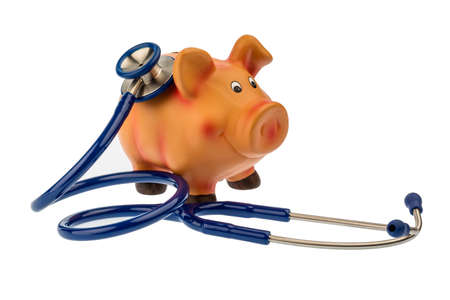 safe investment: a piggy bank and a stethoscope. photo icon for save in the doctors office and safe investment