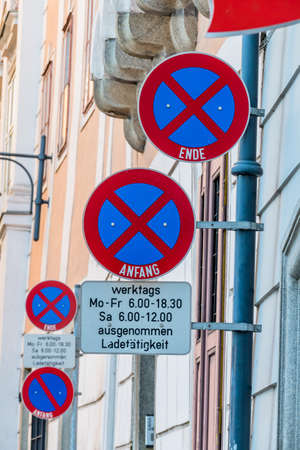 pkw: signs stopping downtown, symbol of prohibition, parking space, delivery vehicles