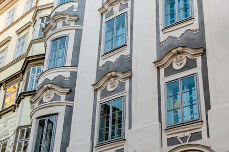 rehabilitated: historic town house facades, symbol of architecture, buildings, insulation. linz, old town, austria