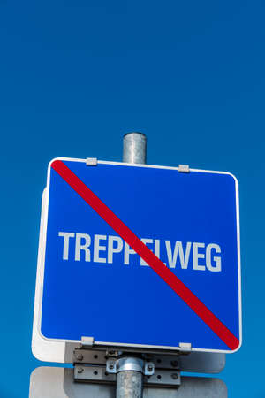 end of the trail: sign treppelweg end, symbolizing information, character, end