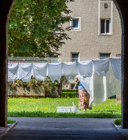 cleanly: Laundry was hung out to dry in the open air Stock Photo