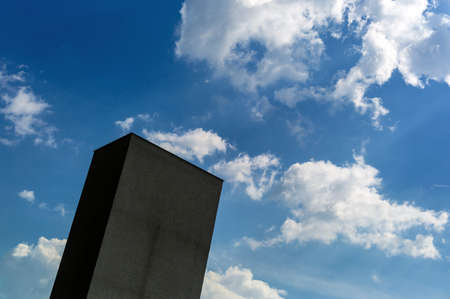 volatile: Building in front of sky at the city cemetery of linz, austria