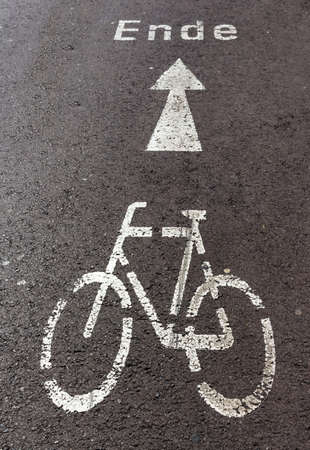 right path: Direction arrow for cyclists, symbol of direction, security, mobility, help