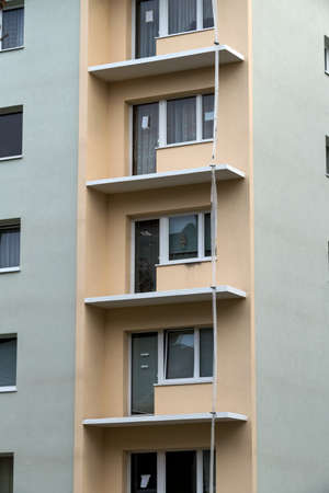 One older residential building is fully restored Stock Photo