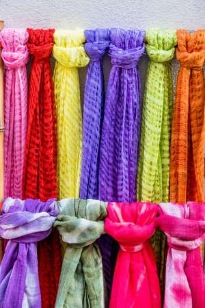 scarves: Colorful scarves on sale, symbol of fabric, variation, range Stock Photo
