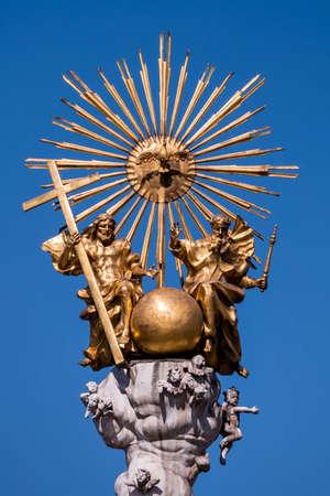 linz: austria, linz, main square, trinity column. holy dreiofaltigkeit the catholic church