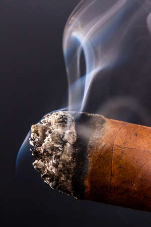 studied: smoking cigar. a symbol photo for addiction and related Stock Photo