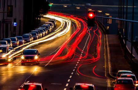 stop pollution: traffic in city at night, symbol of traffic, congestion, air pollution