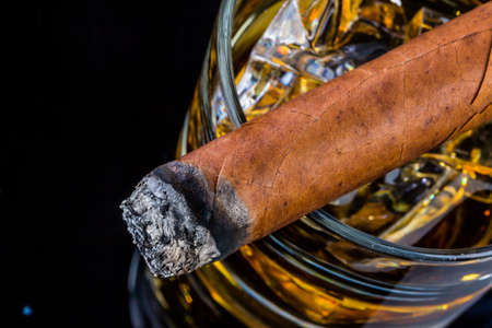 luxury lifestyle: cigar and whiskey. a symbol photo for addiction and related