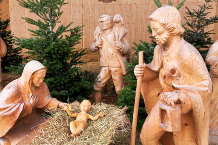 christ is born: figures scene infant jesus, a symbol of christianity, religion, hope, charity