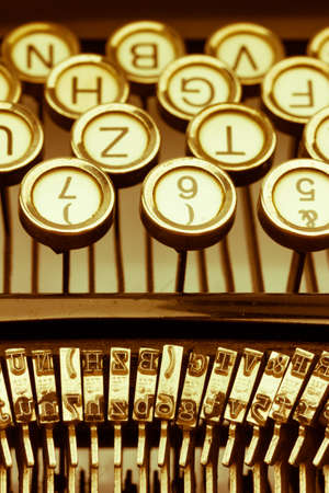 illiteracy: keys of an old typewriter. symbolic photo for communication in former times