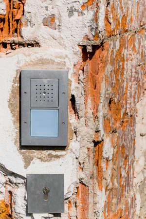 botch: intercom broken , a symbol of security, private property, renovation, insulation Stock Photo