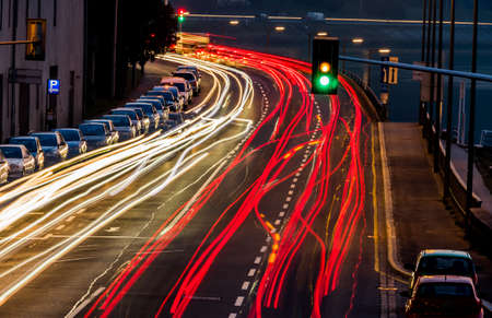 traffic in city at night, symbol of traffic, congestion, air pollution photo