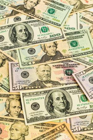 american dollar: many american dollar bills. symbolic photo for debts and wealth Stock Photo