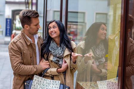 convince: young couple einkausbummel. shopping in the city i enjoy Stock Photo