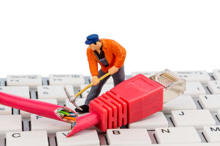 edv: workers, network connector, keyboard, symbol photo for internet, fault, maintenance, problem solving, Stock Photo