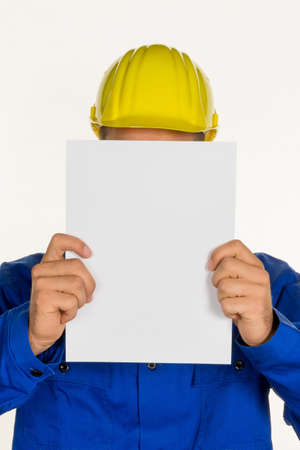 hobbyist: a handyman holding a blank sheet in hand
