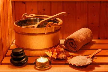 sauna: cozy atmosphere in the sauna at a spa area of wellness hotel. recreation and relax from everyday life. Stock Photo