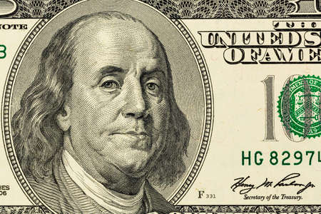 the franklin: hundred dollar bill with a portrait of benjamin franklin