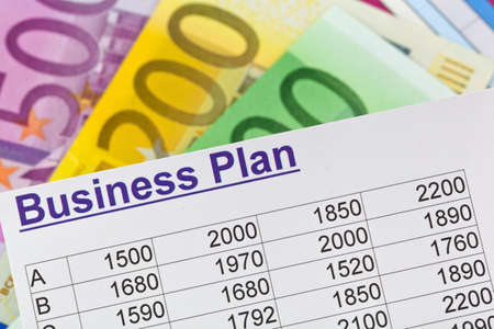reestablishment: a business plan to start a business. ideas and strategies for business start-up. euro bills.