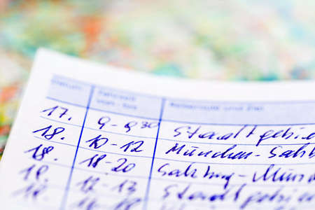 pkw: logbook for one car. for commuter tax and revenue office. Stock Photo