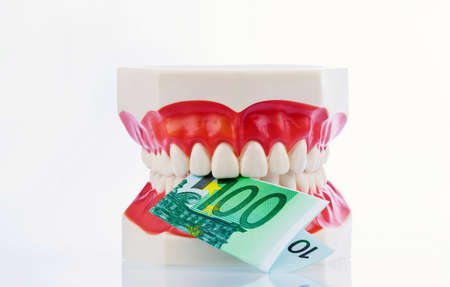 physican: a dental model to the dentist with euro notes. cost of health.