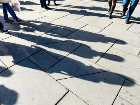 peoplesoft: shadows of people, symbolic photo for anonymity, city life, mass society Stock Photo
