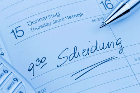an appointment is entered on a calendar: divorce