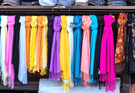 selection of scarves, symbolfoto for womens fashion, selection, sale