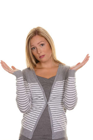 shrug: an unsuspecting woman shrugs. shrug and helplessness