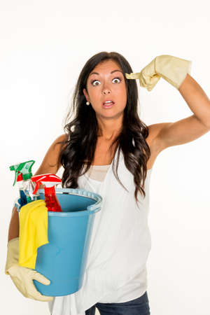 putz: a young woman is annoyed that they have to do the housecleaning. Stock Photo