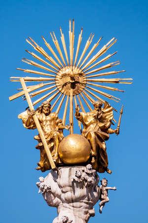 linz: Austria, linz, main square, holy trinity column. holy dreiofaltigkeit the catholic church