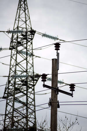 utility pole: the utility pole a high-voltage line to secure energy supplies