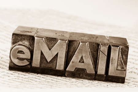 edv: the word e-mail in lead letters written. symbolic photo for fast correspondence