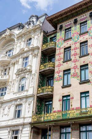 the vienna lines houses on naschmarkt. architecture of otto wagner in vienna, austria photo