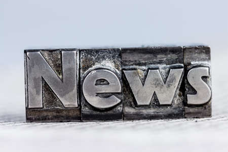 newsletter: the word news written with lead letters. symbolic photo for newsletters, newspapers and information